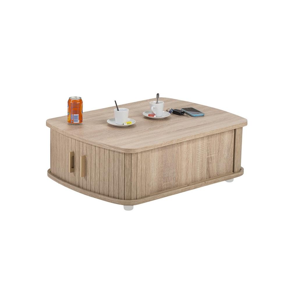 Table basse à rideaux Bois rangement - Univers Salon : Tousmesmeubles