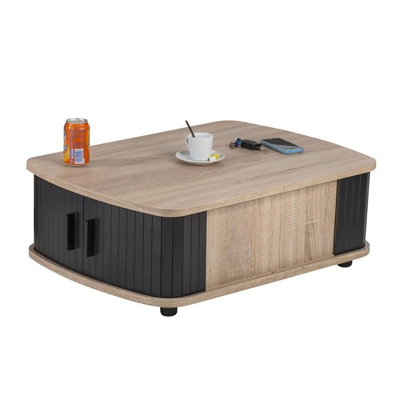 Table basse à rideaux Bois/Noir - WAMPA