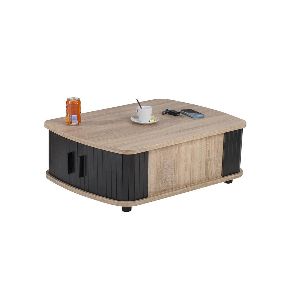 Table basse à rideaux Bois/Noir rangement - Univers Salon : Tousmesmeubles