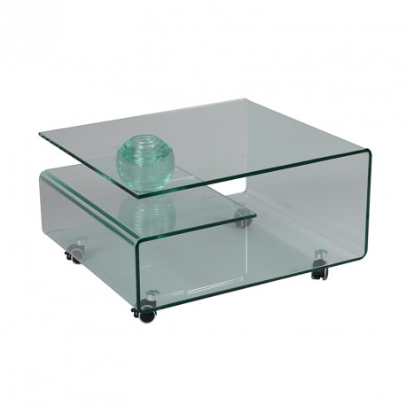 Table basse Verre courbé sur roulettes CLEAN - Univers Salon : Tousmesmeubles