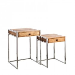 Set de 2 tables d'appoints Bois/Acier - JULS