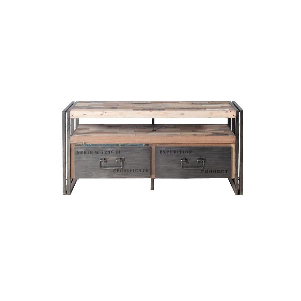 Meuble TV en bois 2 tiroirs - INDUSTRY