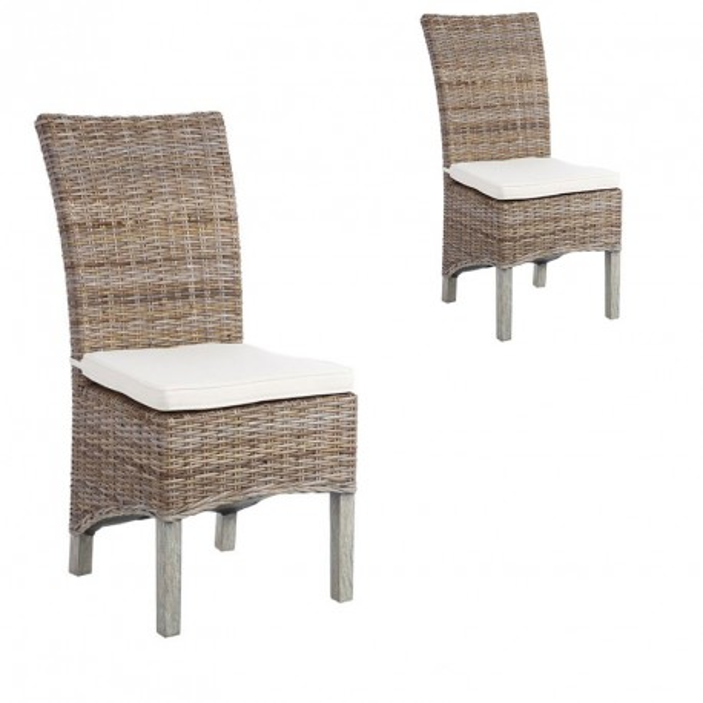 Duo de chaises en Rotin avec coussin - TANAR