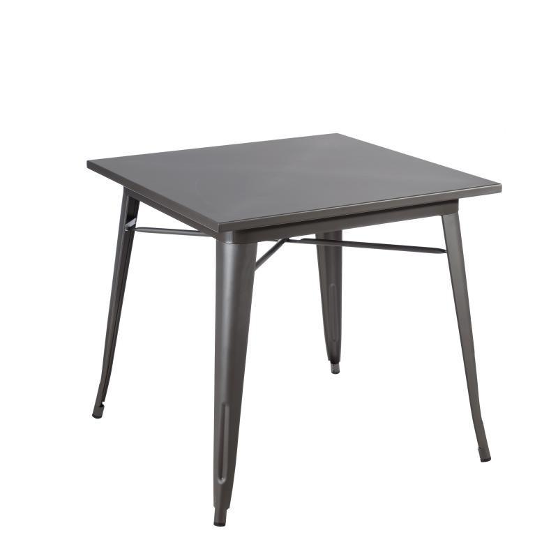 Table de repas carrée en métal gris - BRUTUS