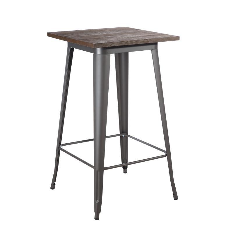 Table haute carrée Métal/Bois - BRUTUS