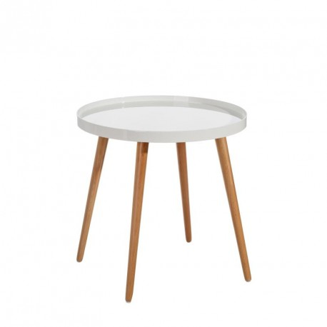 Table d'appoint ronde Bois/Blanc - NEIGE