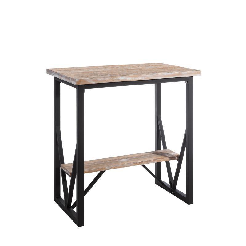 Table haute Métal/Bois et repose pieds - BRUTUS