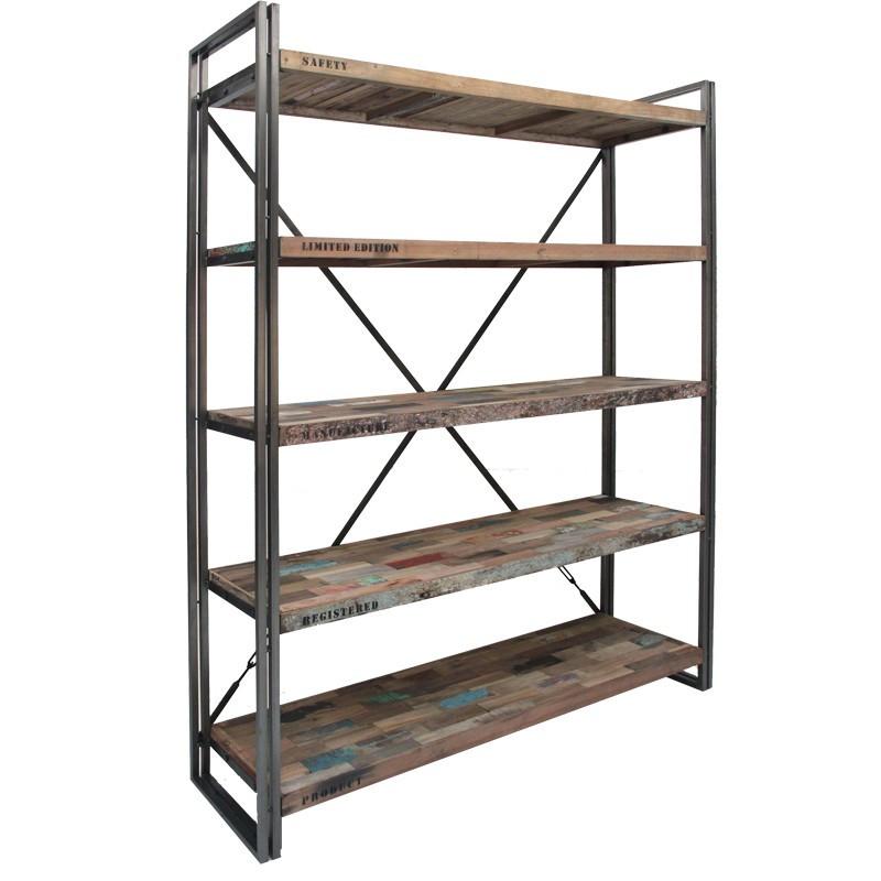 Bibliothèque en bois 5 étagères - INDUSTRY