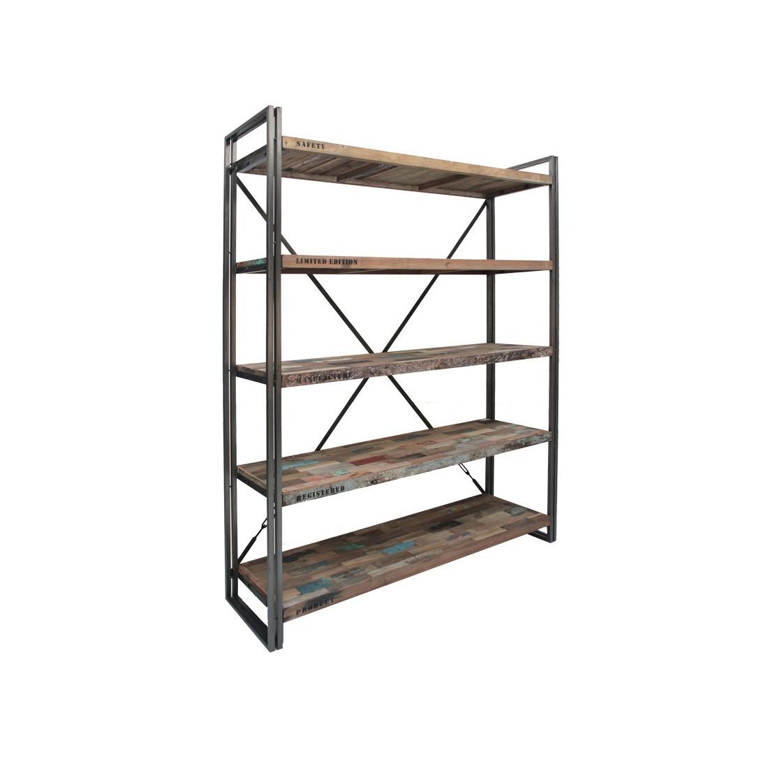 biblioth que 5 tag res industry univers du salon tousmesmeubles. Black Bedroom Furniture Sets. Home Design Ideas