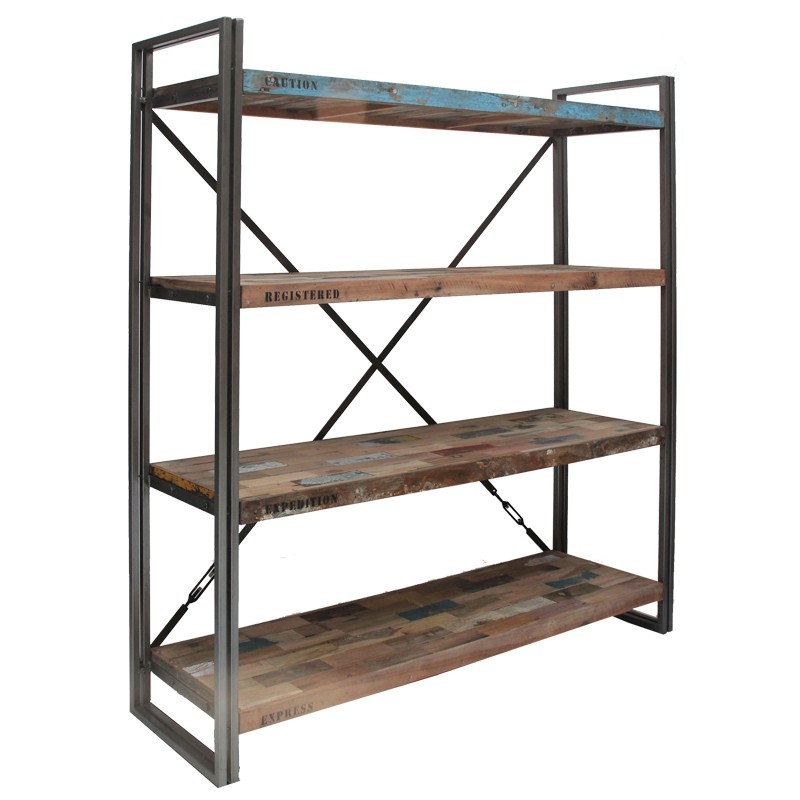 Biblioth que 4 tag res industry univers du salon - Etagere bibliotheque bois ...