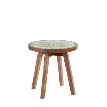 Table d'appoint Bois/Blanc taille S - BRAUM