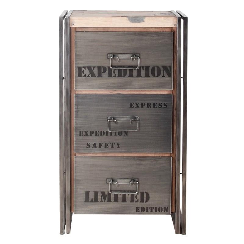 Chiffonnier en bois 3 tiroirs - INDUSTRY