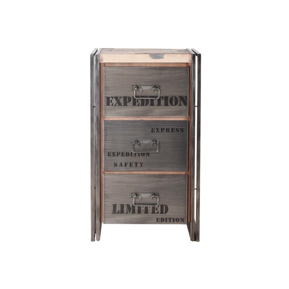 chiffonnier 3 tiroirs industry univers du salon. Black Bedroom Furniture Sets. Home Design Ideas