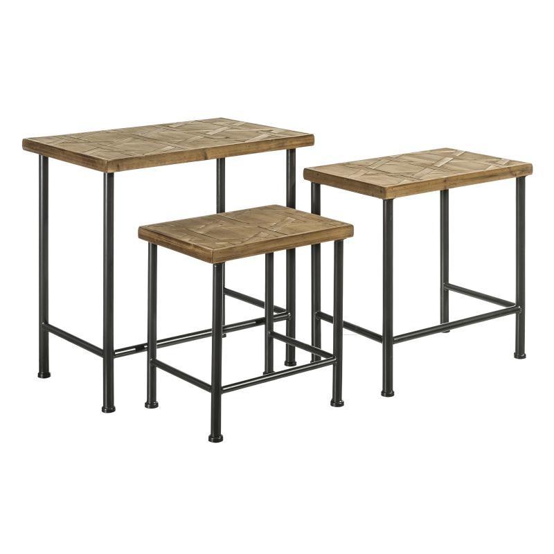 Set de 3 tables d'appoints Bois/Métal - BRUTUS