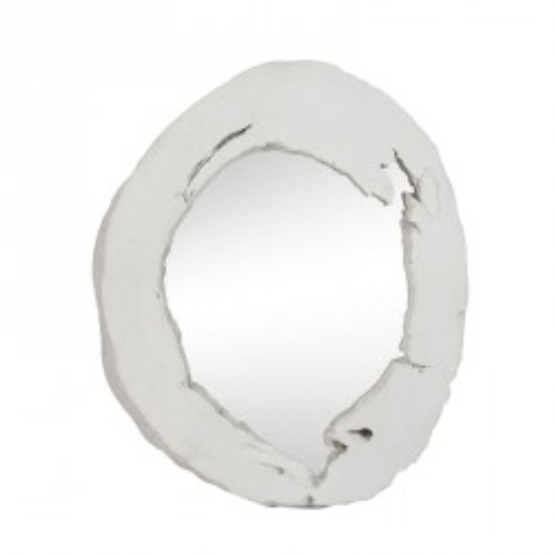 Miroir rond blanc Résine - SOLF