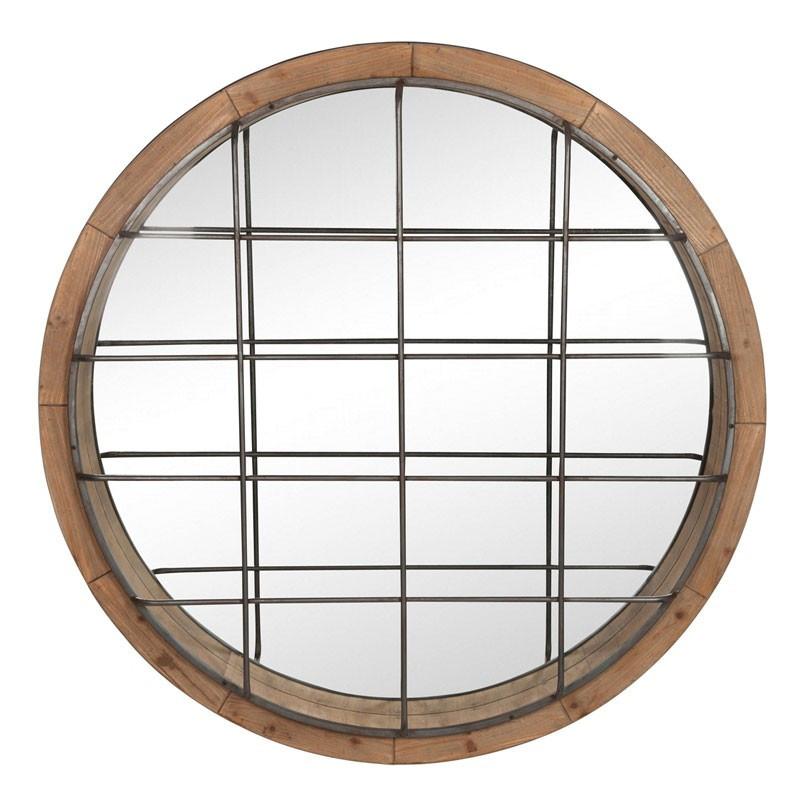Miroir rond Bois/Fer naturel - DIABEL