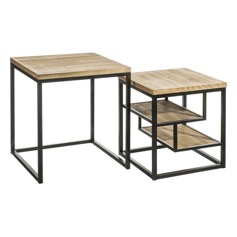 Duo de tables basses en Bois/Métal - BRUTUS