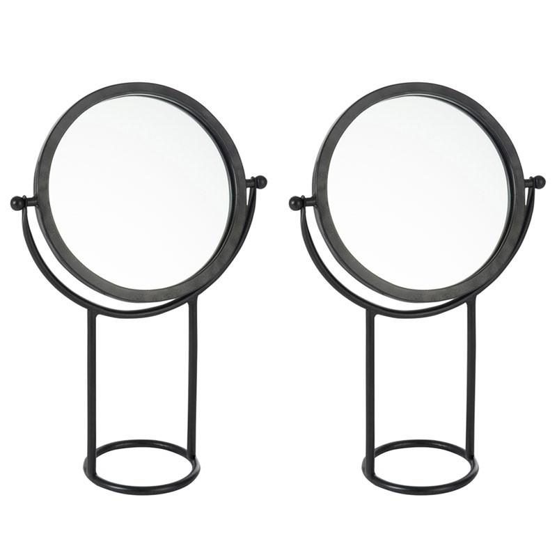 Duo de miroirs sur pied rond Métal noir - PRIMER