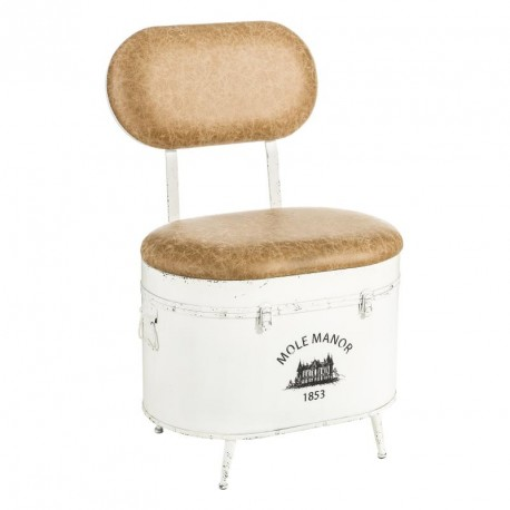 Chaise Blanche avec coffre Simili Cuir - BRUTUS