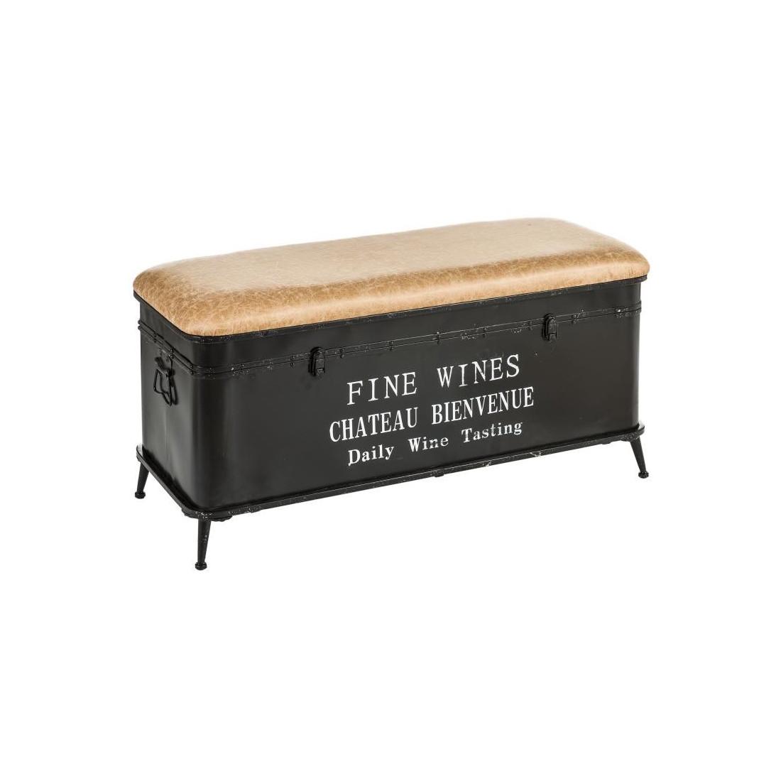 banc noir avec coffre simili cuir brutus n 1 univers des assises. Black Bedroom Furniture Sets. Home Design Ideas