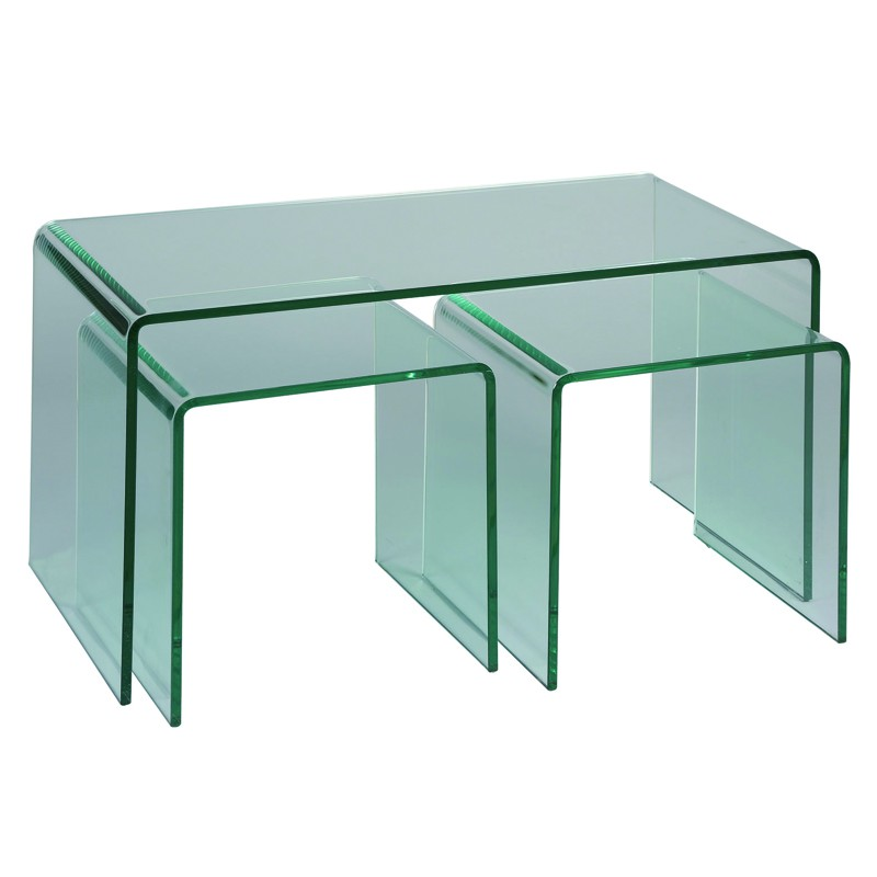 Tables de salon avec 2 gigognes clean univers salon tousmesmeubles - Table de salon gigogne ...