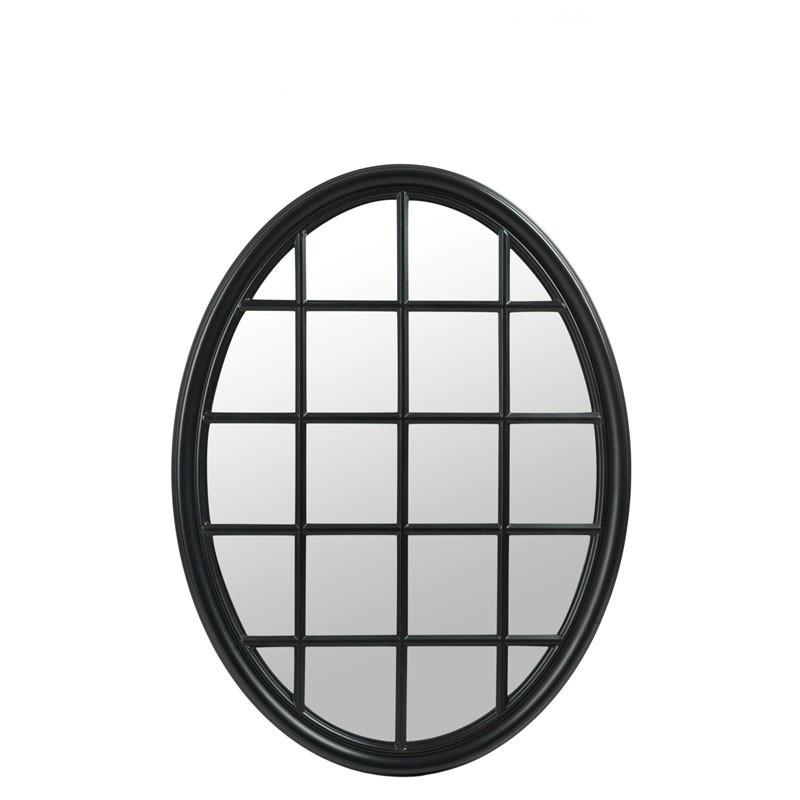Miroir fenêtre ovale Bois noir mat  - NOXUS