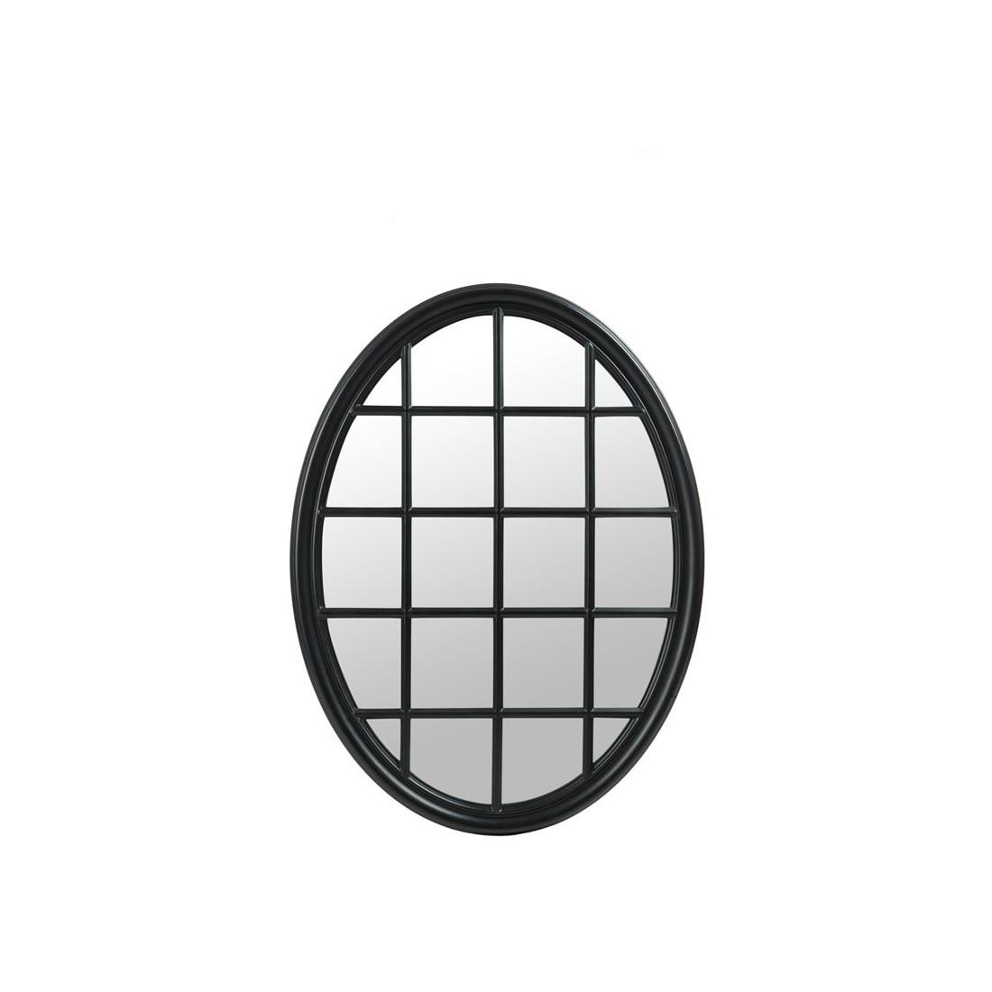 miroir fen tre ovale bois noir mat noxus univers de la. Black Bedroom Furniture Sets. Home Design Ideas