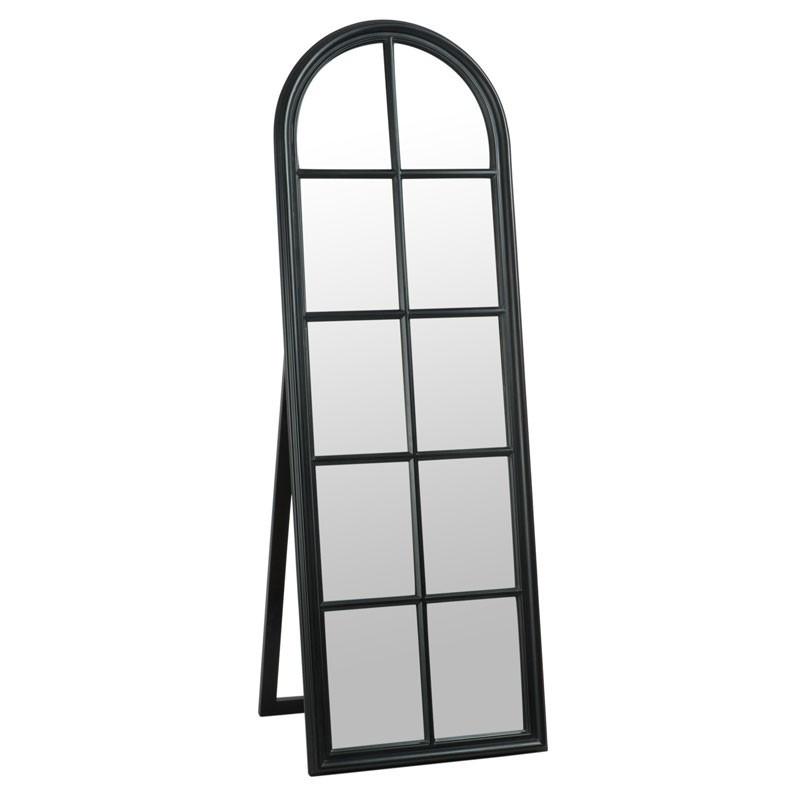 Miroir sur pied fenêtre Bois noir mat  - NOXUS