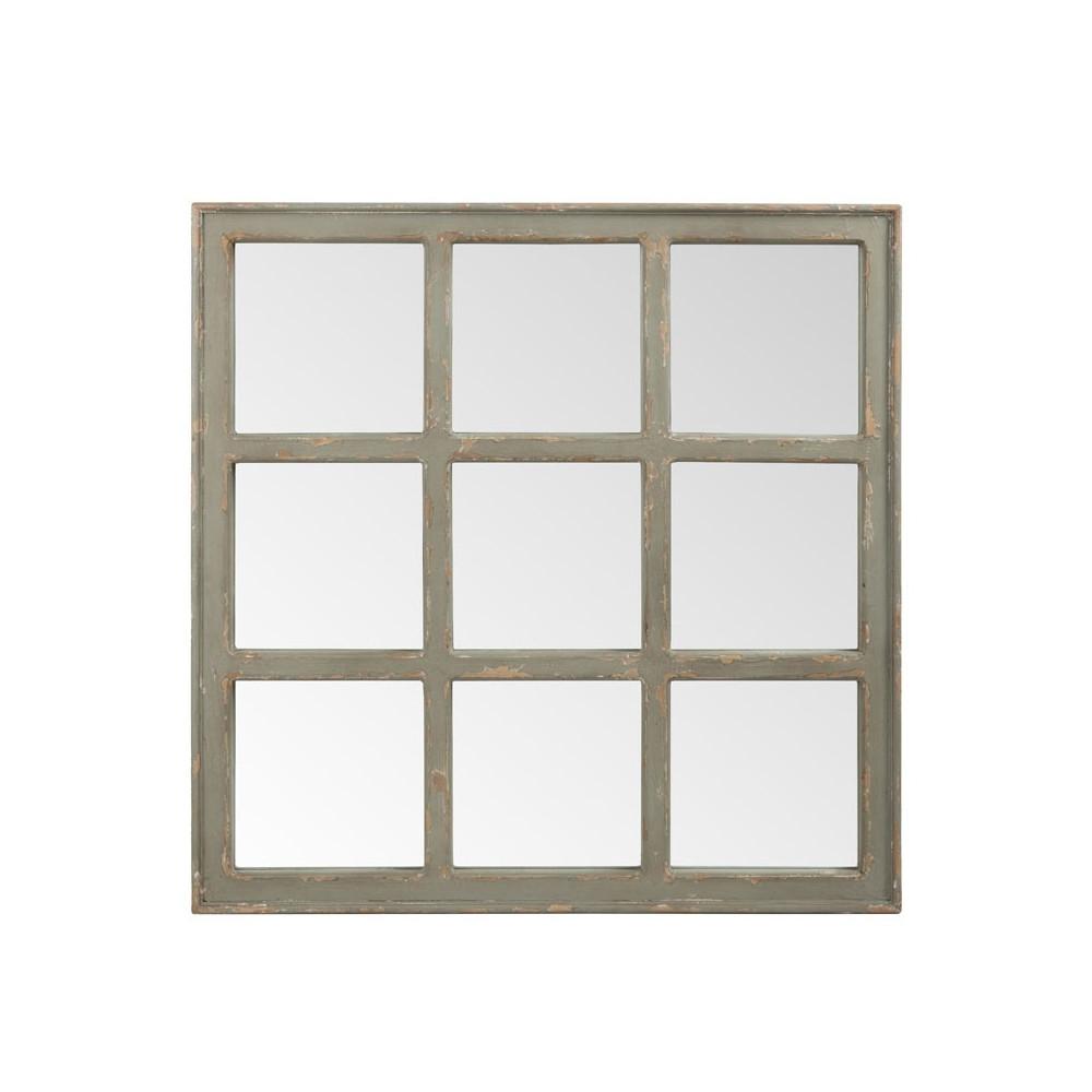 Miroir carré quadrillé Bois vieilli gris - FILEAS