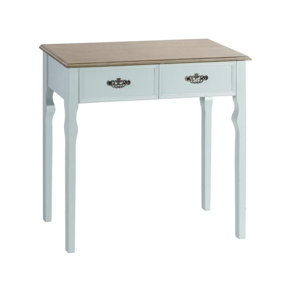 Console 2 tiroirs Bois Bleu - APRIL