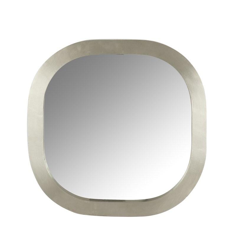 Miroir carré arrondi Bois/Métal argent - LAYLA