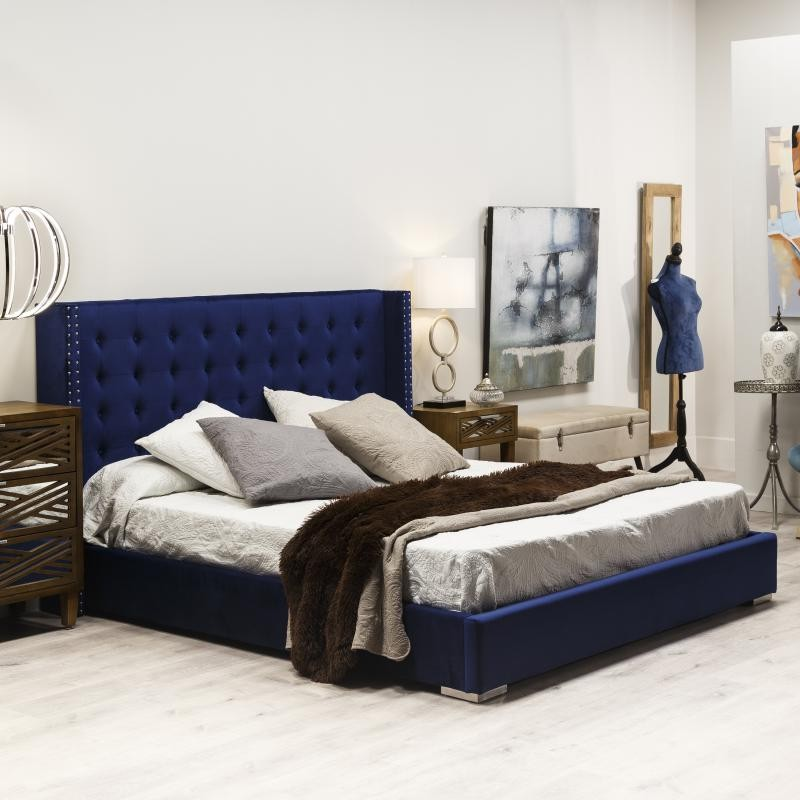 cadre de lit t te de lit 180 200 bleu roi royal univers chambre. Black Bedroom Furniture Sets. Home Design Ideas