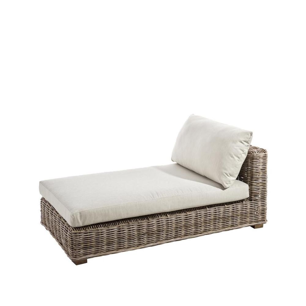 chaise longue en rotin avec coussins tanar univers du salon. Black Bedroom Furniture Sets. Home Design Ideas