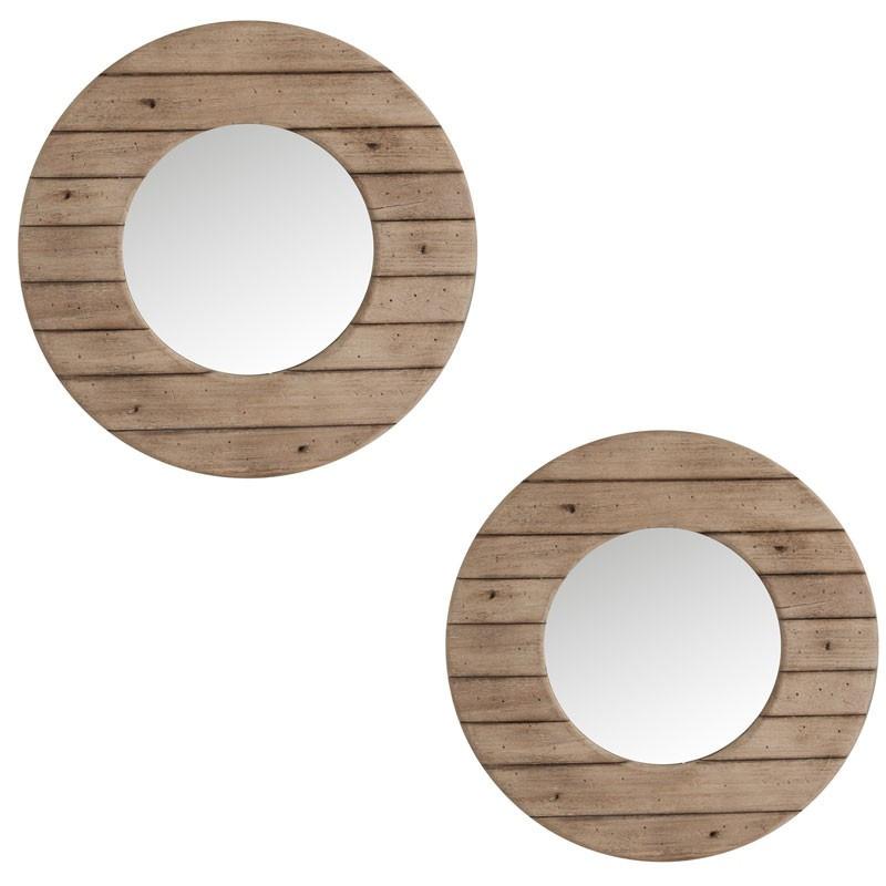 Duo de miroirs ronds Bois naturel - CONNIE