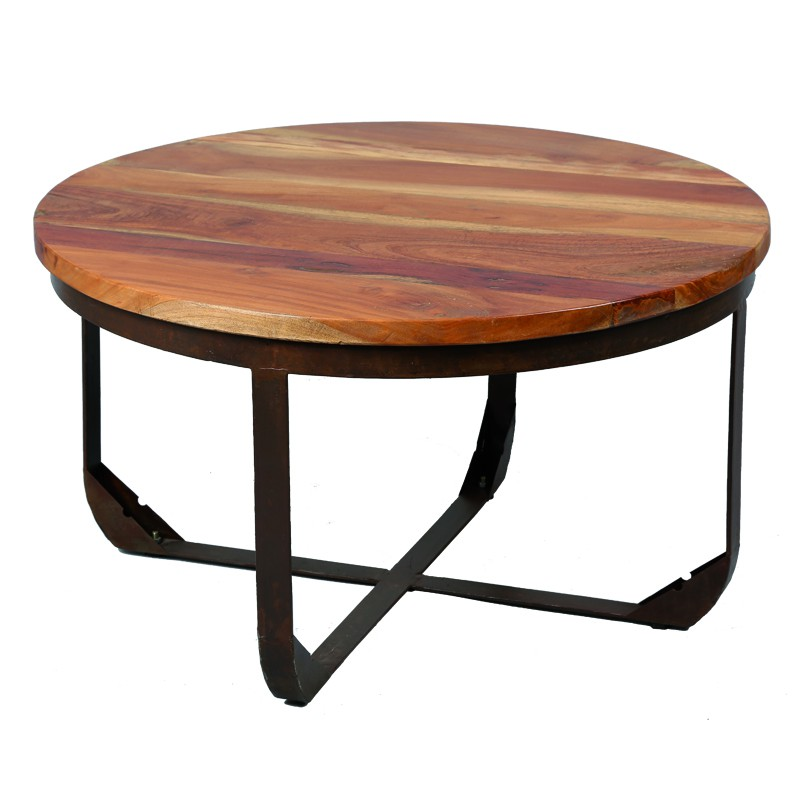 Table basse en bois et m tal tons univers salon for Table bois metal