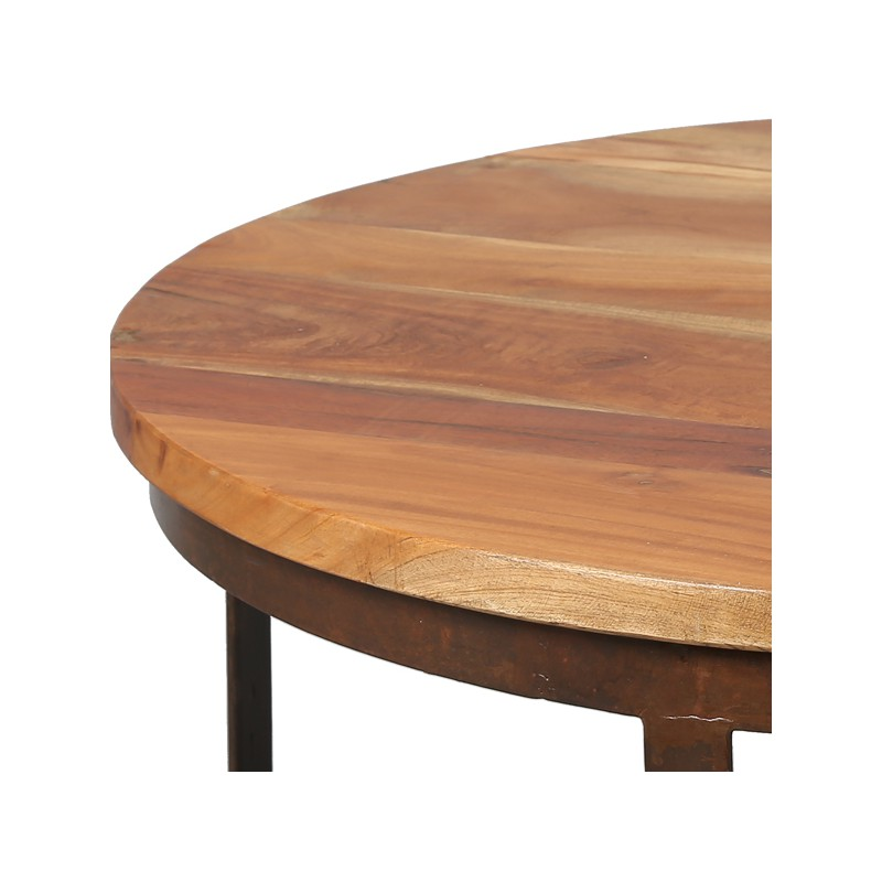 Table basse en bois et m tal tons univers salon for Table basse metal bois