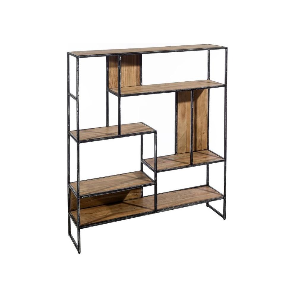 tag re 6 niveaux bois m tal noir brutus univers du bureau. Black Bedroom Furniture Sets. Home Design Ideas