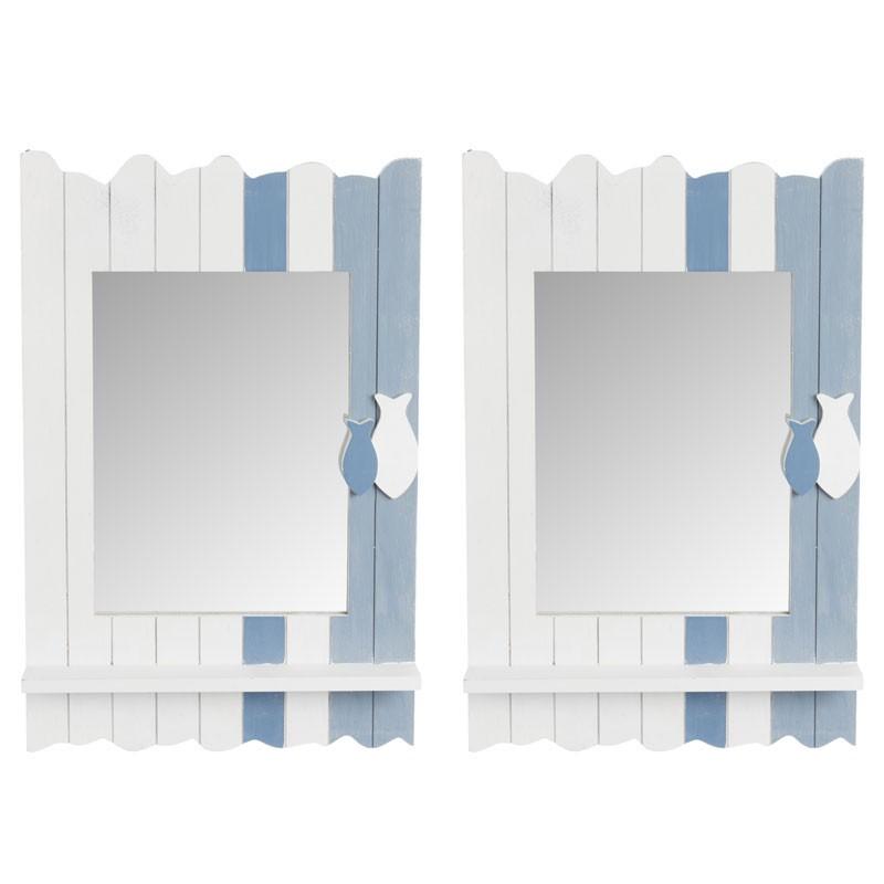 Duo de miroirs rectangulaire Bois blanc/bleu - XYPHO