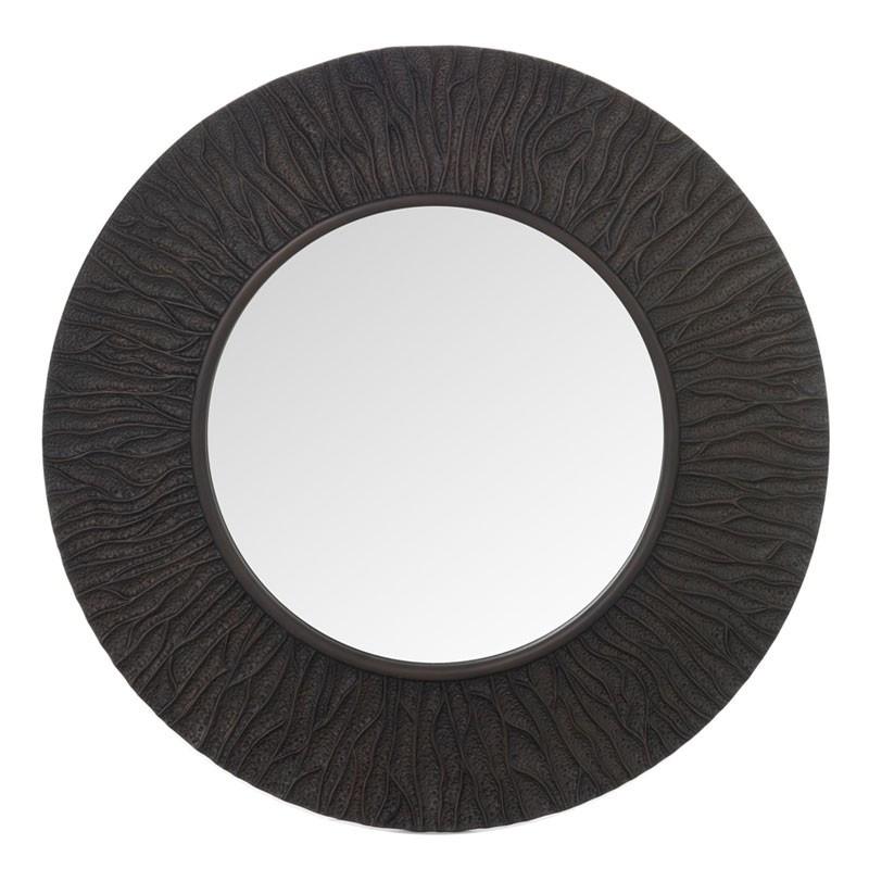 Miroir nervures rond Simili cuir marron foncé - CANELA