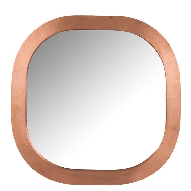 Miroir carré arrondi Bois/Métal cuivre - LAYLA