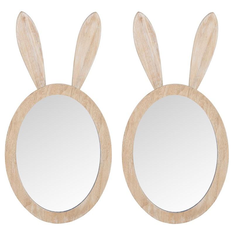 Duo de miroirs muraux lapin bois naturel - RABBIT