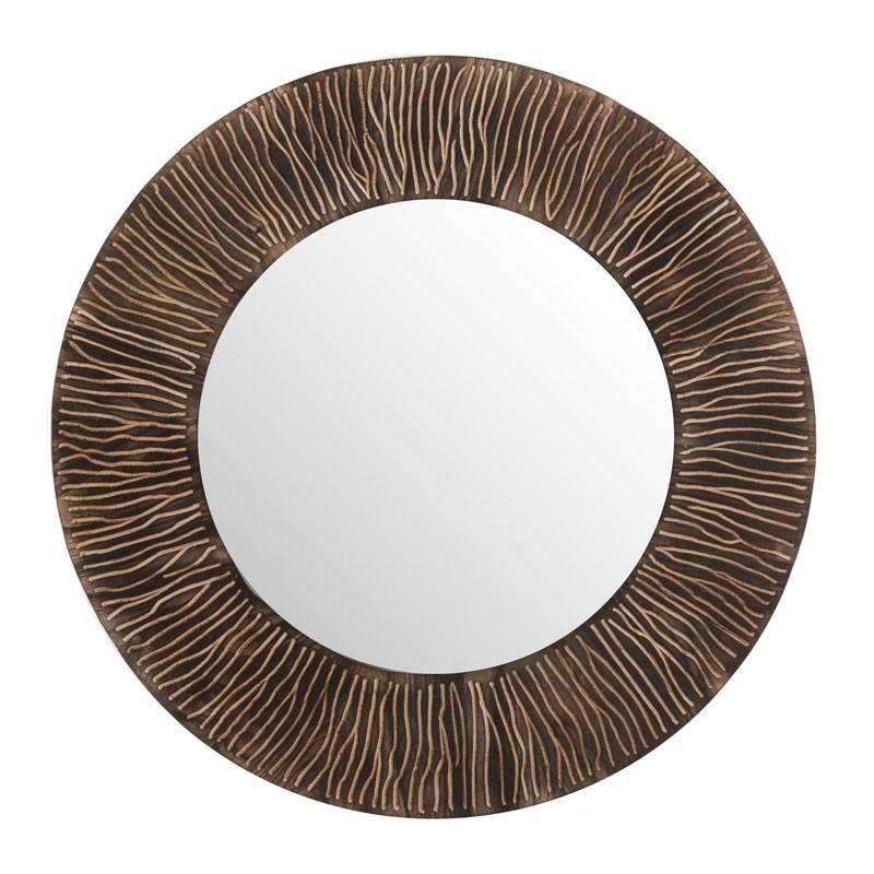 Miroir rond Bois marron foncé - DJOUBA