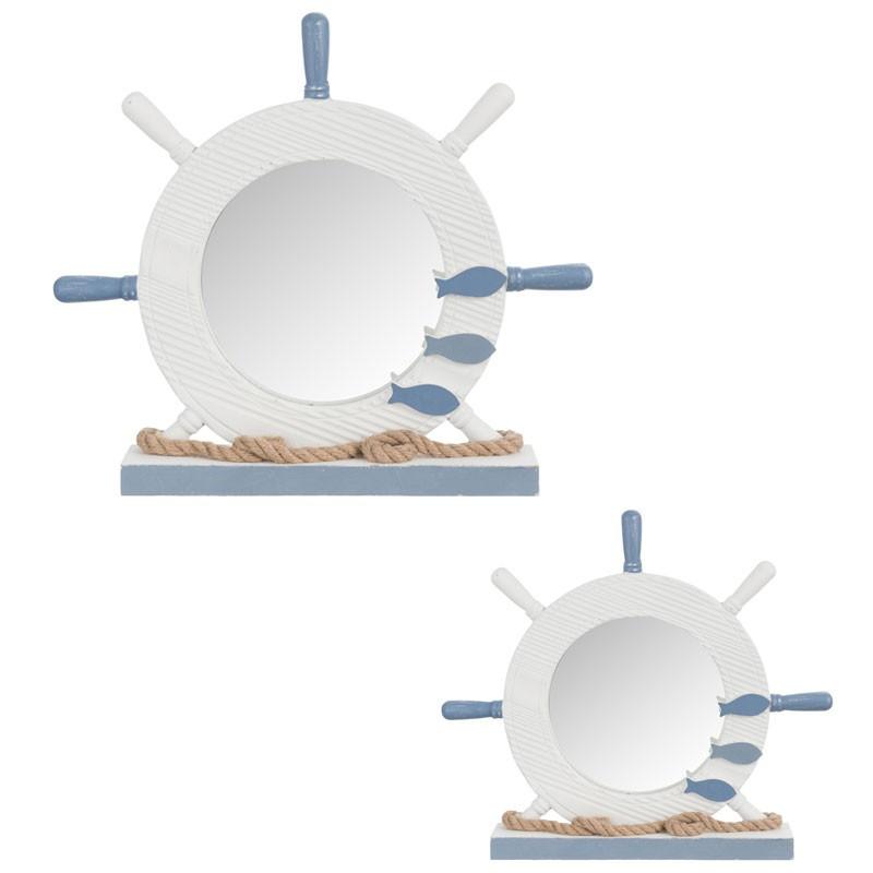 Duo de miroirs gouvernails Bois blanc/bleu - XYPHO