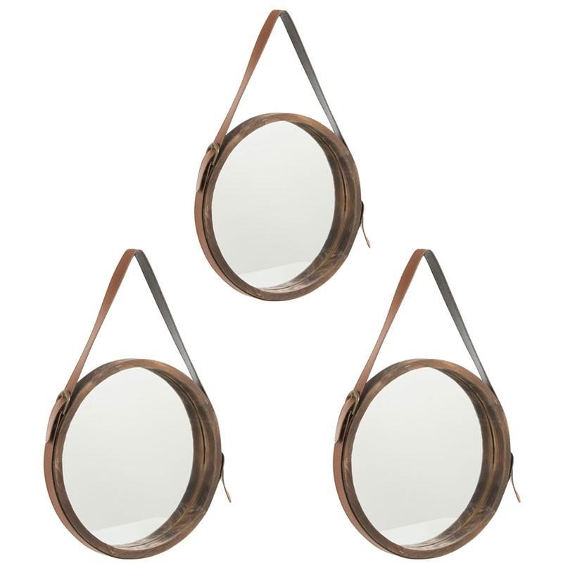 Trio de miroirs rond Bois marron taille S - COURO