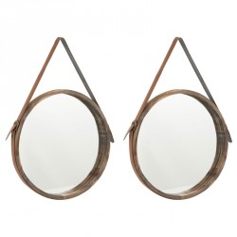 Duo de miroirs rond Bois marron taille M - COURO