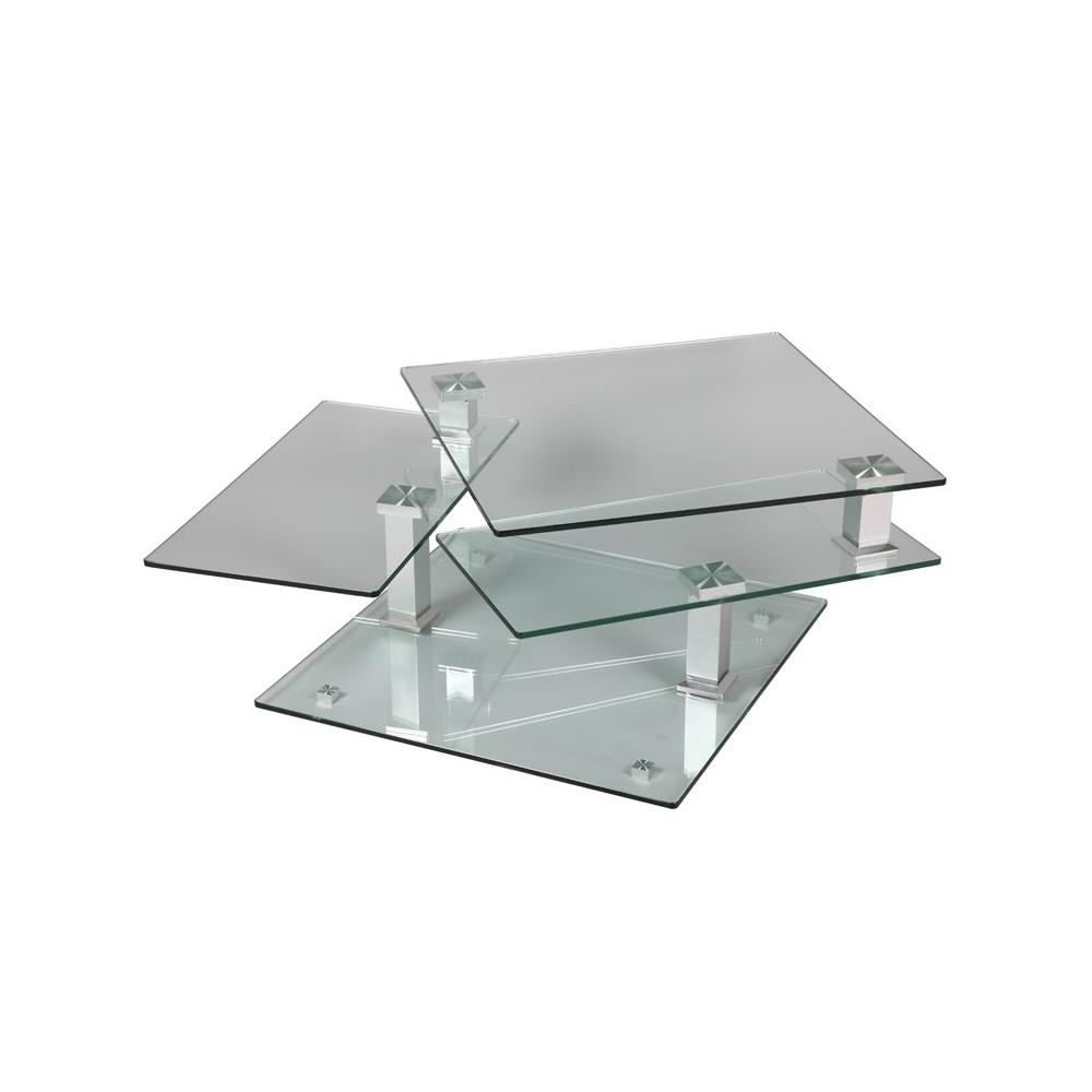 Univers Table En Basse Quadra Carrée SalonTousmesmeubles Verre yPm80OvwNn