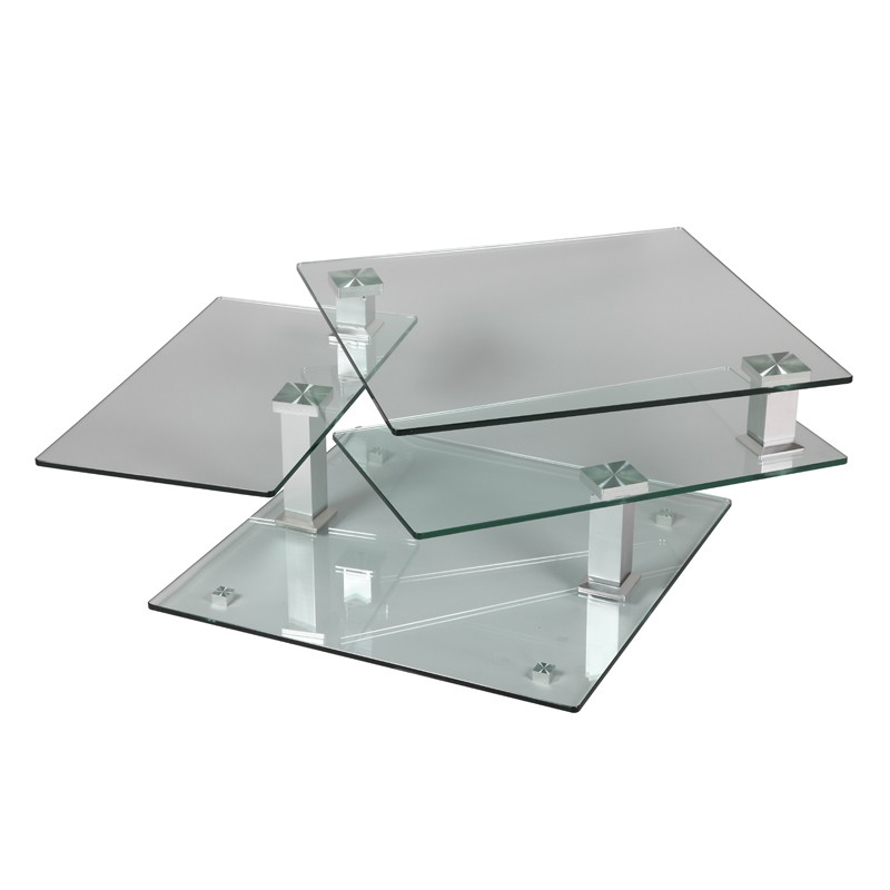 Table basse en verre carr e quadra univers salon tousmesmeubles - Table basse tout en verre ...
