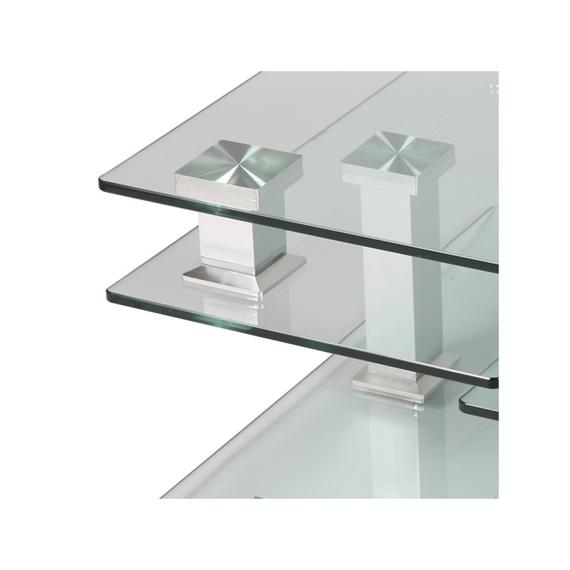 Table basse en verre carr e quadra univers salon - Table basse verre but ...