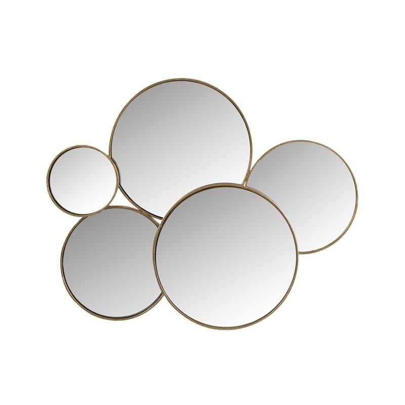 Miroir 5 ronds Métal or - DORIAN