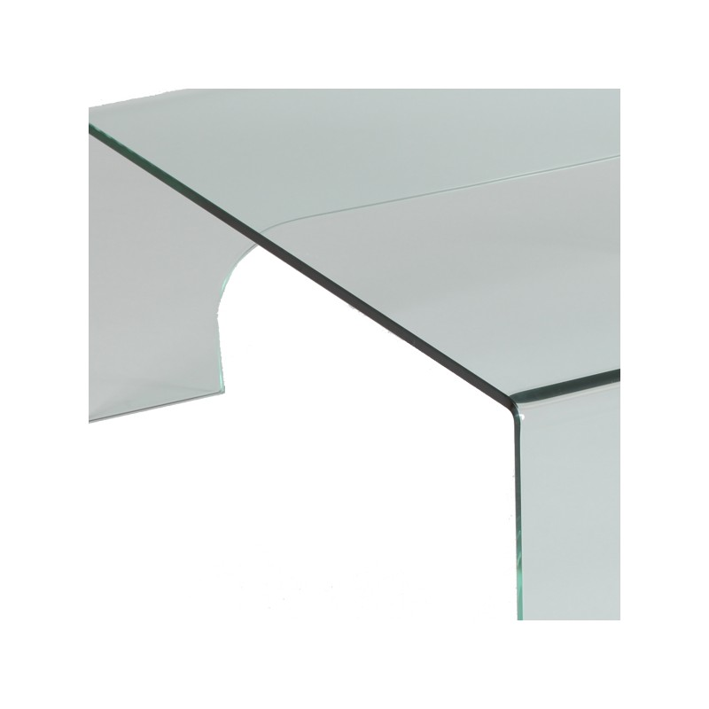 Table basse carr e en verre clean univers salon - Table basse carree verre ...